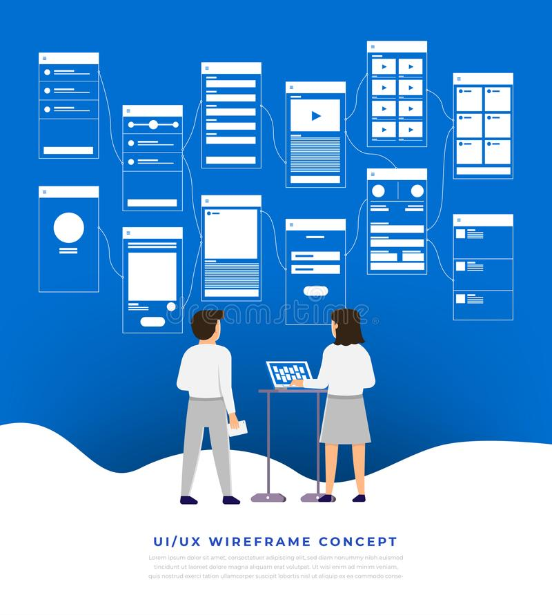 Organigrama de UX UI Desig plano del concepto de la aplicación móvil de las maquetas ilustración del vector