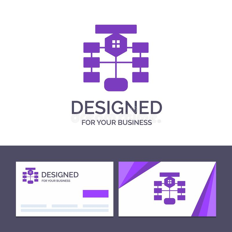 Organigrama de visita de la plantilla creativa de la tarjeta y del logotipo, flujo, carta, datos, ejemplo del vector de la base d ilustración del vector