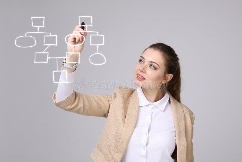 Organigrama del dibujo de la mujer, concepto del proceso de negocio imagen de archivo libre de regalías