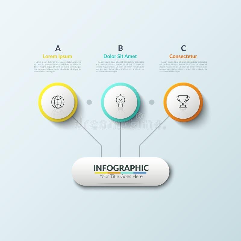 Organigrama El elemento principal conectó por las líneas con 3 círculos interiores puestos los iconos lineares y cuadros de texto libre illustration