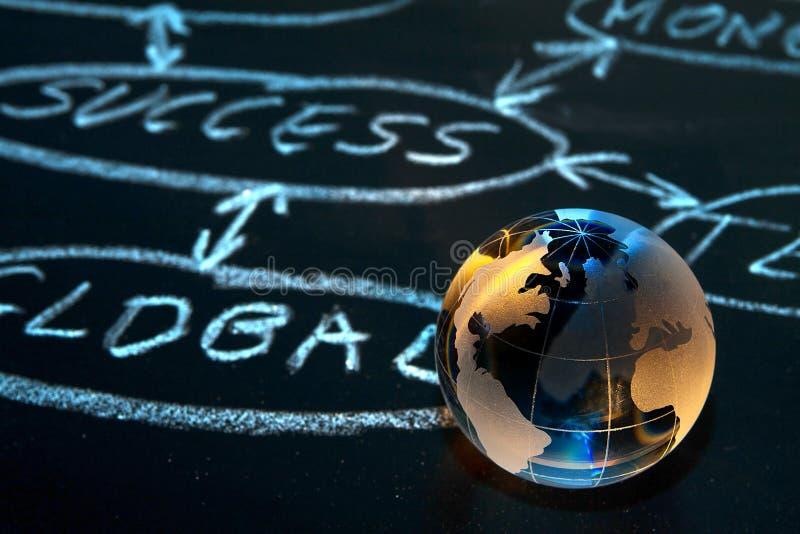 Organigrama en una tarjeta de tiza. Globo del mundo. imagen de archivo libre de regalías
