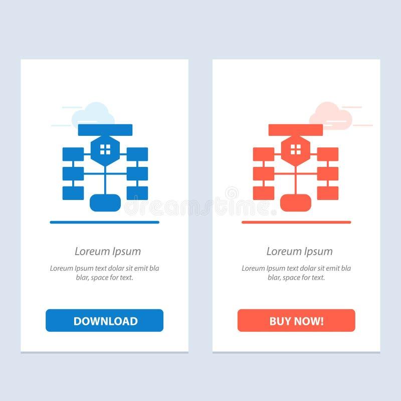 Organigrama, flujo, carta, datos, azul de la base de datos y transferencia directa roja y ahora comprar la plantilla de la tarjet ilustración del vector