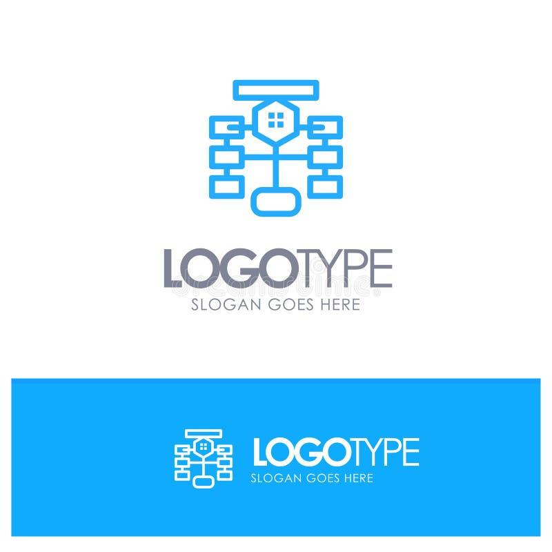 Organigrama, flujo, carta, datos, base de datos Logo Line Style azul ilustración del vector
