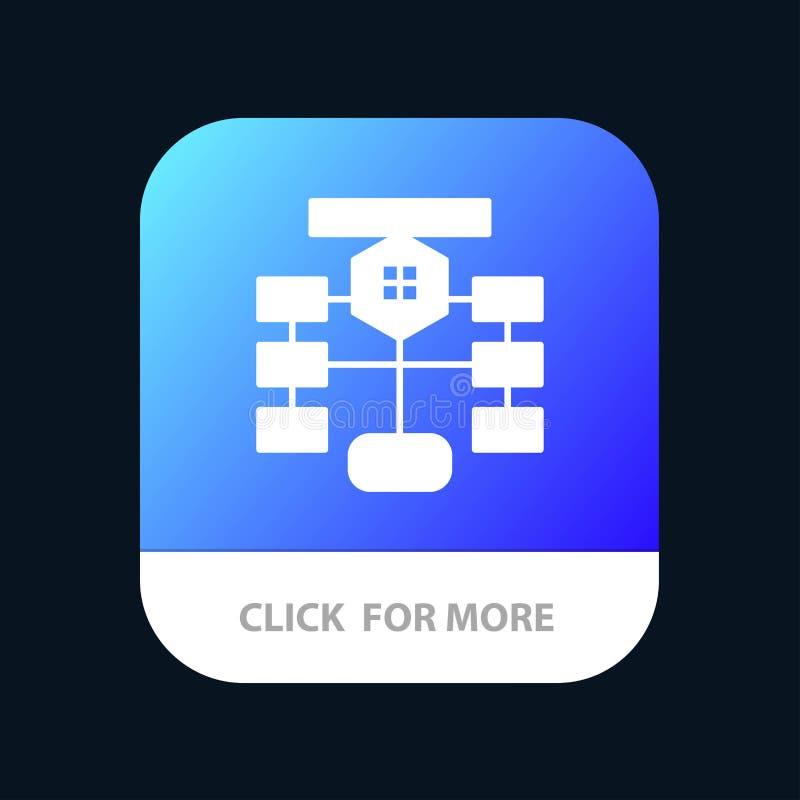 Organigrama, flujo, carta, datos, diseño móvil del icono del App de la base de datos ilustración del vector