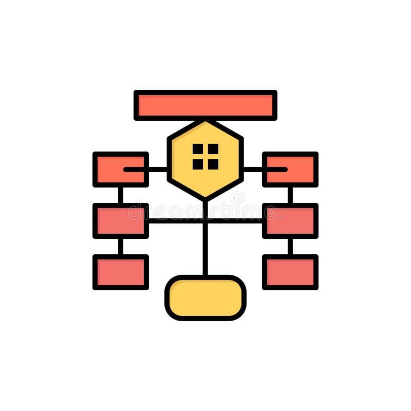 Organigrama, flujo, carta, datos, icono plano del color de la base de datos Plantilla de la bandera del icono del vector libre illustration