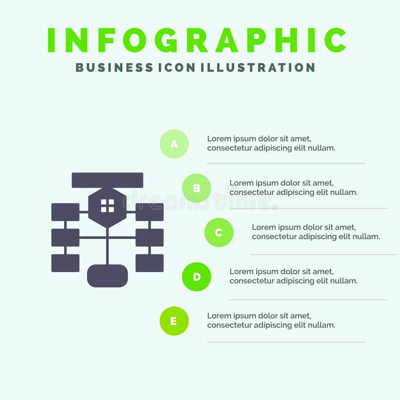 Organigrama, flujo, carta, datos, plantilla de la presentación de Infographics de la base de datos Presentación de 5 pasos ilustración del vector