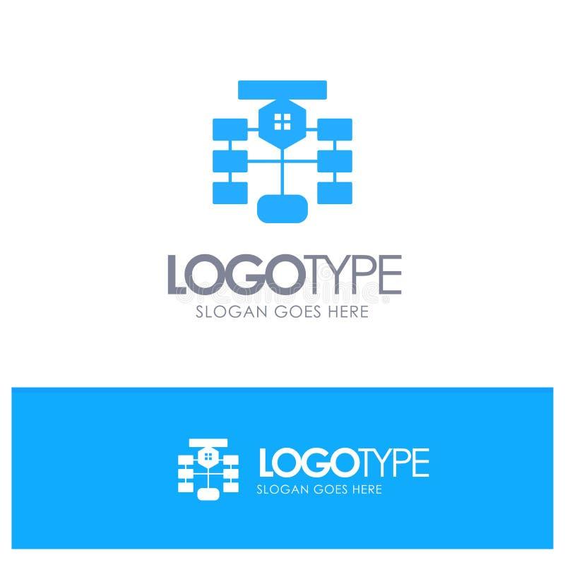 Organigrama, flujo, carta, datos, vector azul del logotipo de la base de datos ilustración del vector