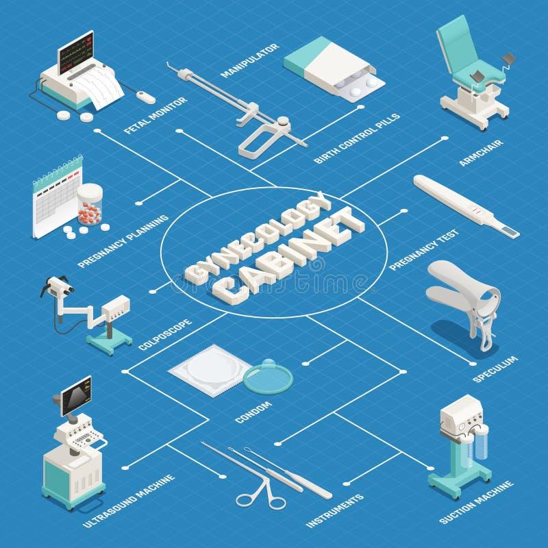 Organigrama isométrico de ginecología stock de ilustración