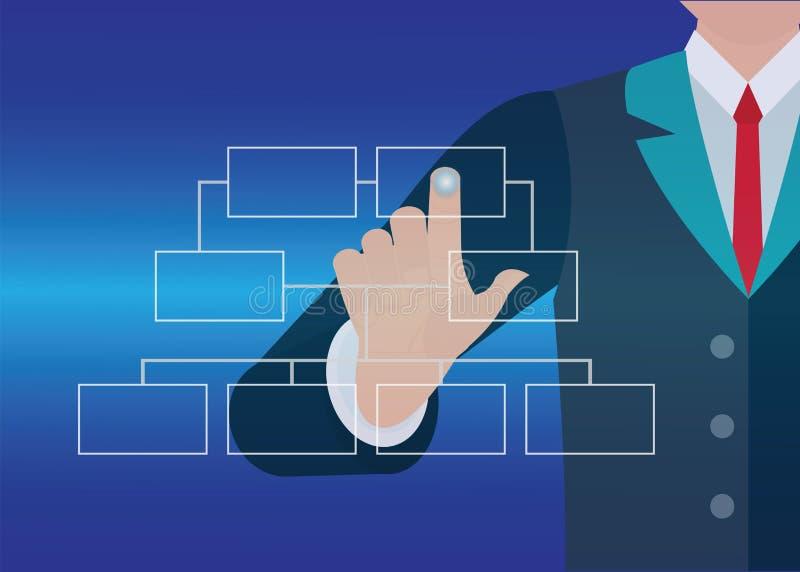 Organigramme émouvant de bouton de main d'homme d'affaires illustration libre de droits