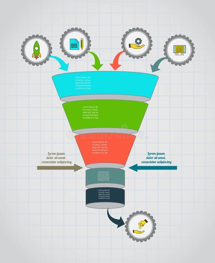 Organigramme d'entonnoir Descripteur d'Infographic Concept de construction pour la présentation, le diagramme rond ou le diagramm illustration libre de droits