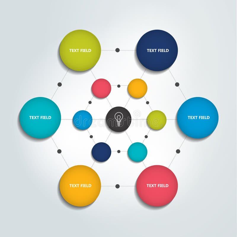 Organigramme d'Infographic Diagramme de cercles de couleur illustration de vecteur