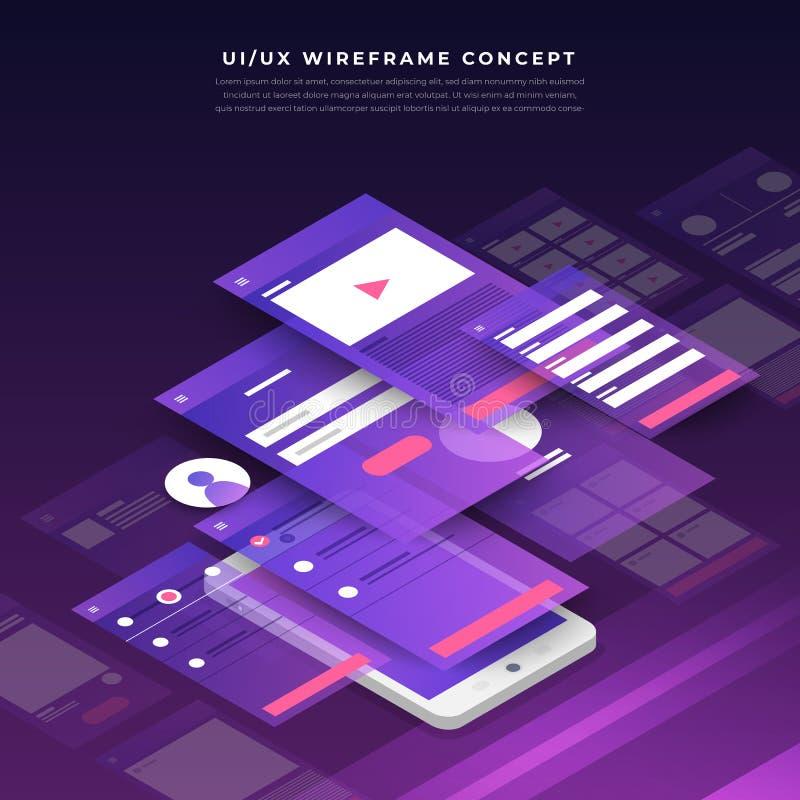 Organigramme d'UX UI Concept mobile d'application de maquettes isométrique illustration stock