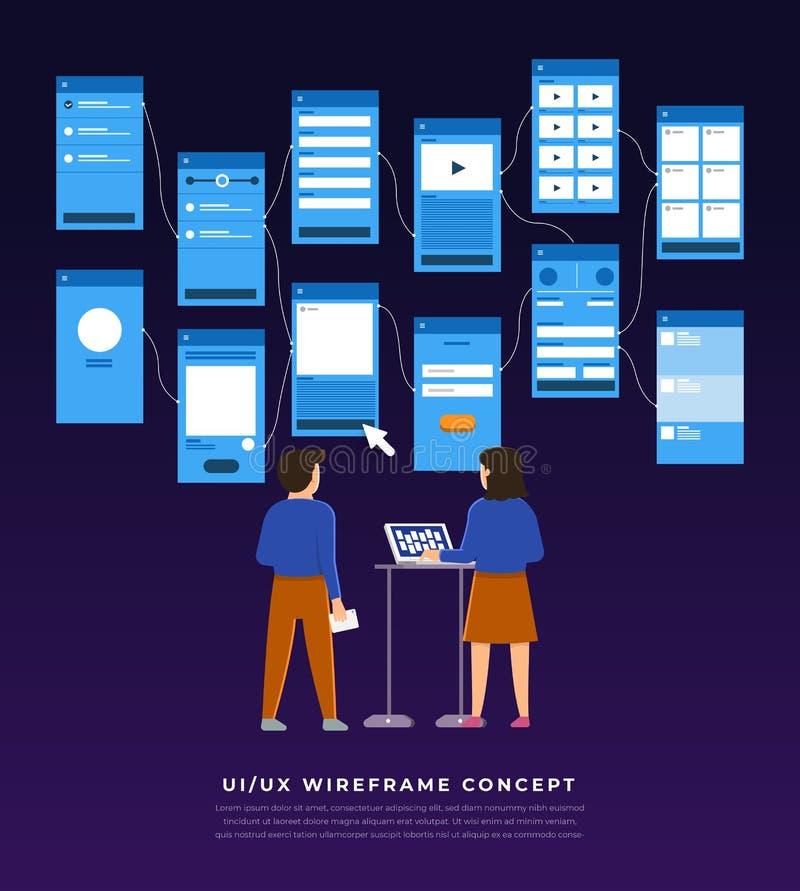 Organigramme d'UX UI Desig plat de concept mobile d'application de maquettes illustration stock
