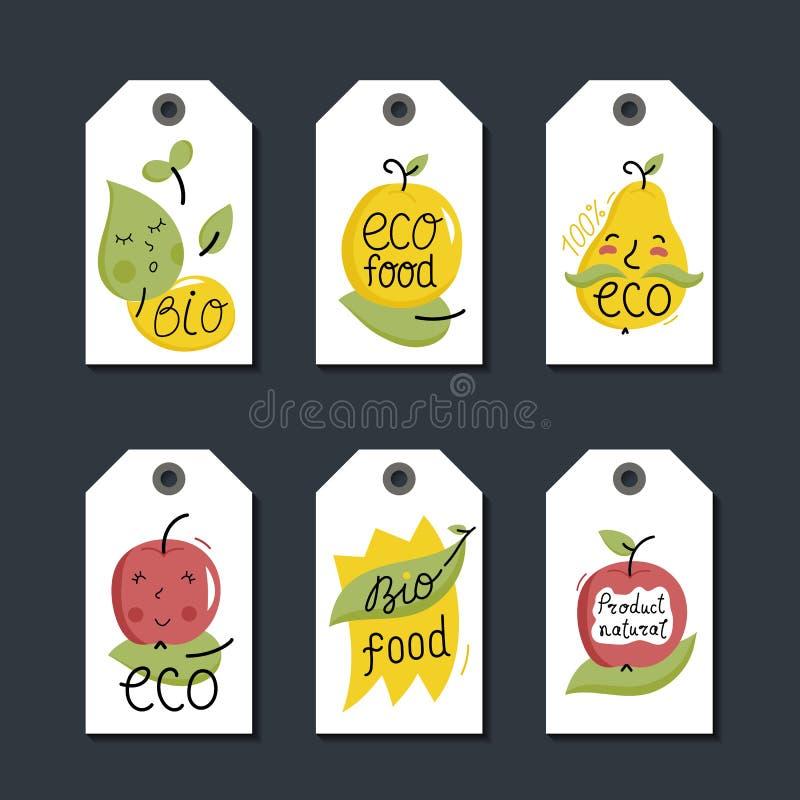 Organique, eco et bio ensemble de labels de nourriture illustration stock
