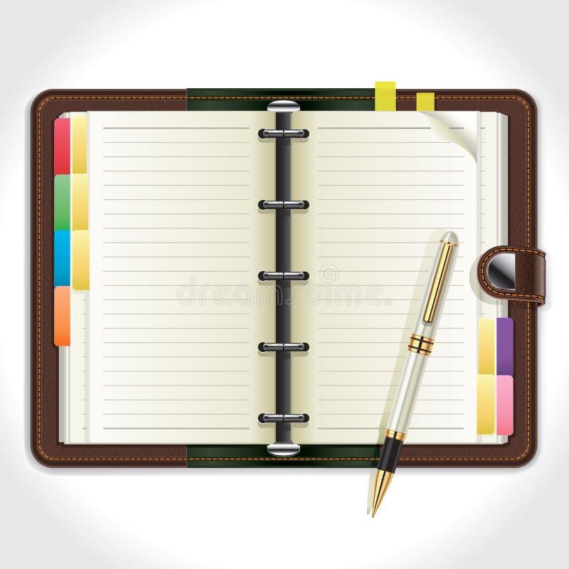 Organisateur personnel avec le stylo. illustration de vecteur