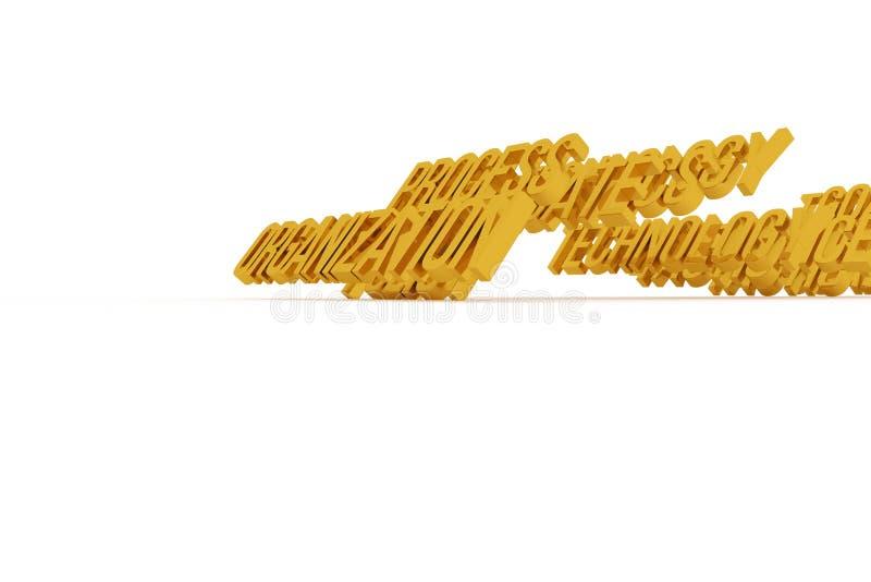 Organisatie, bedrijfs conceptuele gouden 3D woorden Typografie, CGI, kunstwerk & tekst royalty-vrije illustratie