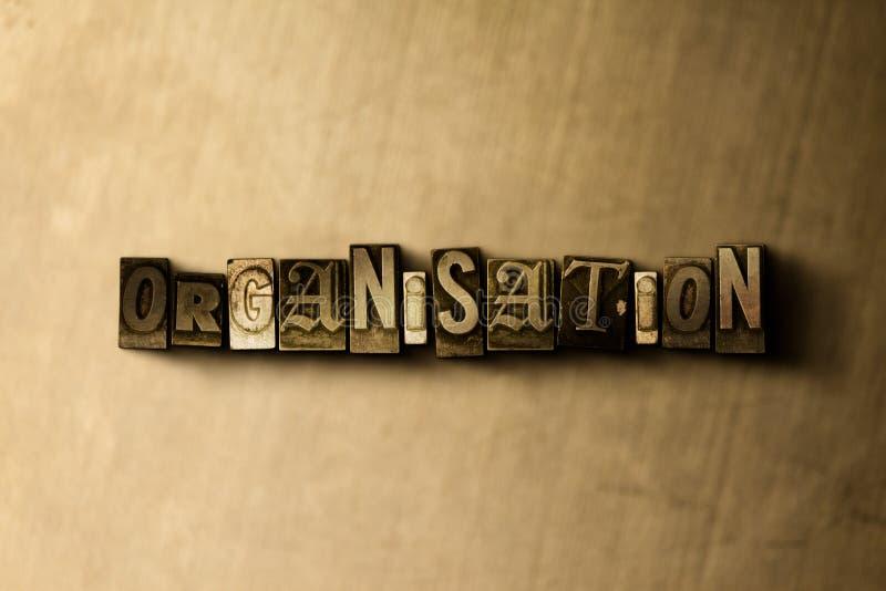 ORGANISATIE - close-up van grungy wijnoogst gezet woord op metaalachtergrond stock illustratie