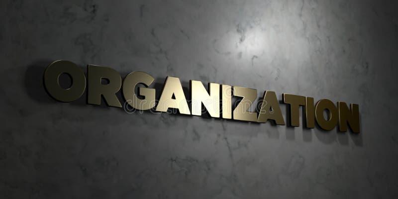 Organisatie - Gouden tekst op zwarte achtergrond - 3D teruggegeven royalty vrij voorraadbeeld stock illustratie