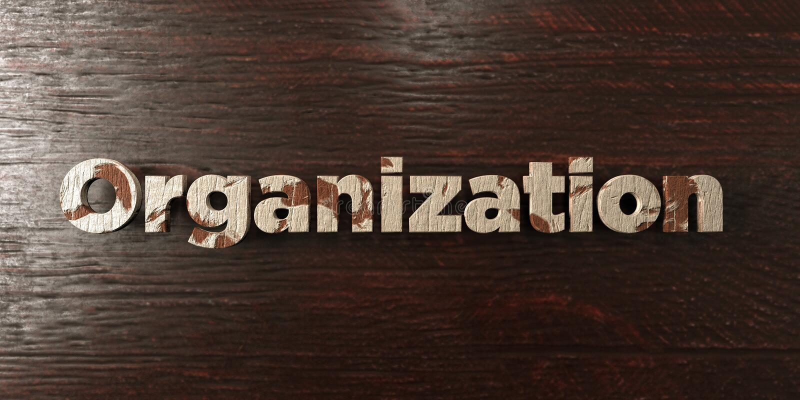 Organisatie - grungy houten krantekop op Esdoorn - 3D teruggegeven royalty vrij voorraadbeeld vector illustratie
