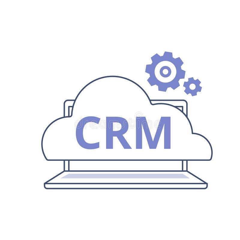 Organisatie van gegevens over het werk met cliënten, het concept van het Klantrelatiebeheer CRM-overzichts vectorpictogram vector illustratie