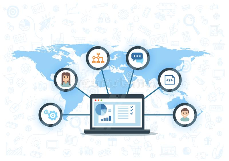 Organisatie van gegevens over het werk met cliënten, CRM-concept De vectorillustratie van het klantrelatiebeheer royalty-vrije illustratie