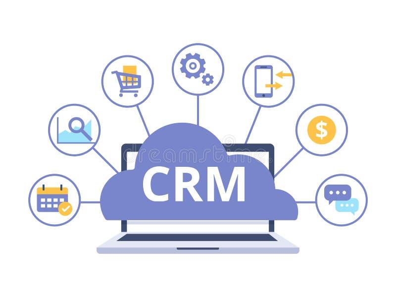 Organisatie van gegevens over het werk met cliënten, Klantrelatiebeheer Het conceptontwerp van CRM met vectorelementen vector illustratie