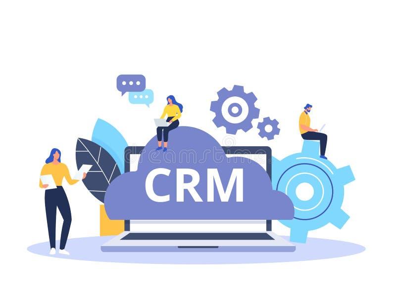 Organisatie van gegevens over het werk met cliënten, Klantrelatiebeheer Het conceptontwerp van CRM met vectorelementen royalty-vrije illustratie
