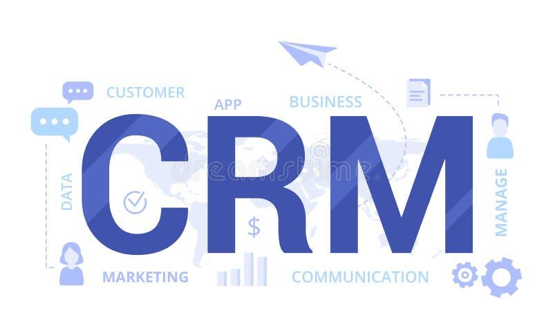 Organisatie van gegevens over het werk met cli?nten, CRM-concept De vectorillustratie van het klantrelatiebeheer royalty-vrije illustratie