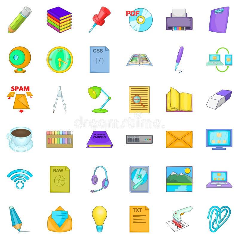 Organisatie van geplaatste het werkpictogrammen, beeldverhaalstijl vector illustratie