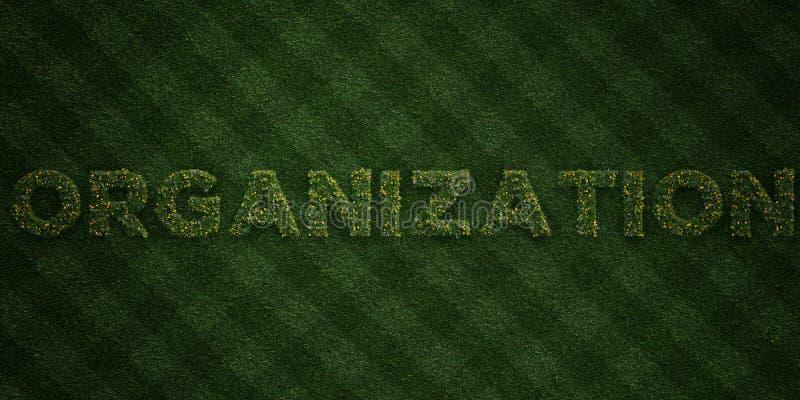 ORGANISATIE - verse Grasbrieven met bloemen en paardebloemen - 3D teruggegeven royalty vrij voorraadbeeld stock illustratie