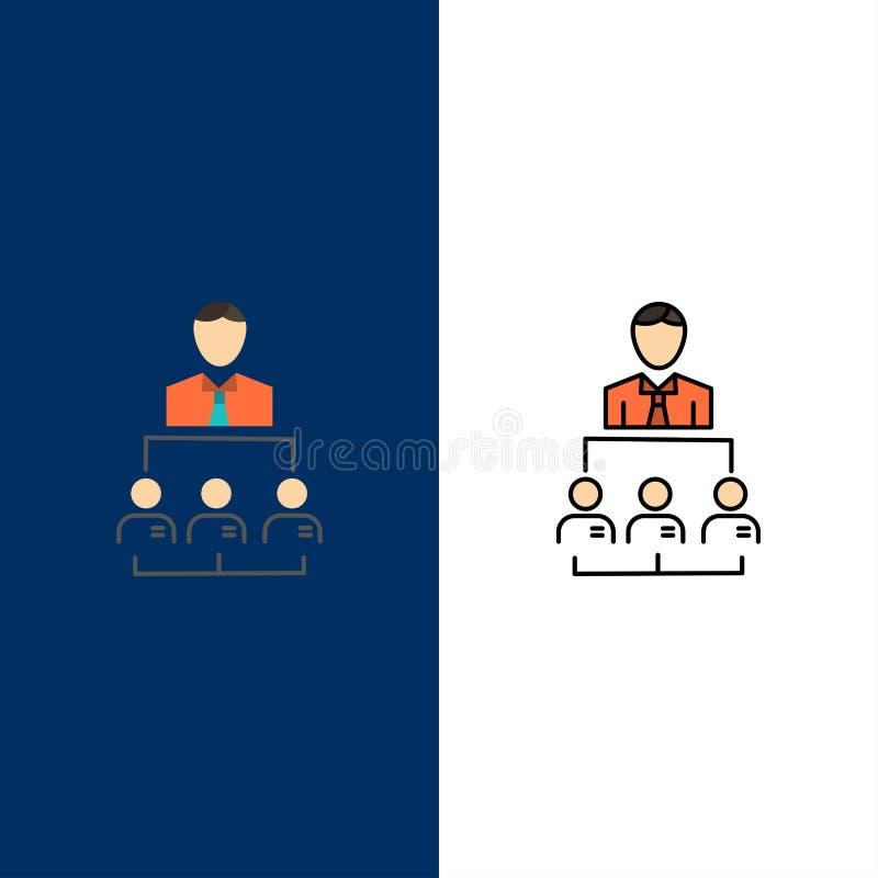 Organisatie, Zaken, Mens, Leiding, Beheerspictogrammen Vlak en Lijn vulde Pictogram Vastgestelde Vector Blauwe Achtergrond royalty-vrije illustratie
