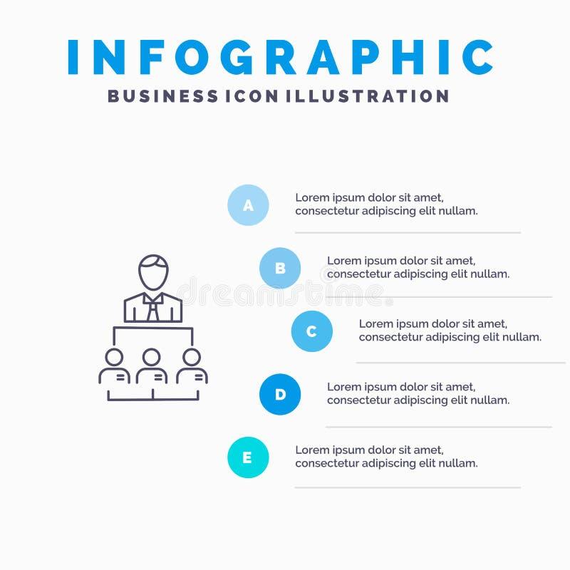 Organisatie, Zaken, Mens, Leiding, het pictogram van de Beheerslijn met infographicsachtergrond van de 5 stappenpresentatie stock illustratie