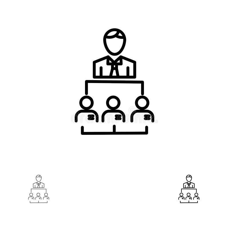 Organisatie, Zaken, Mens, Leiding, het pictogramreeks van de Beheers Gewaagde en dunne zwarte lijn vector illustratie