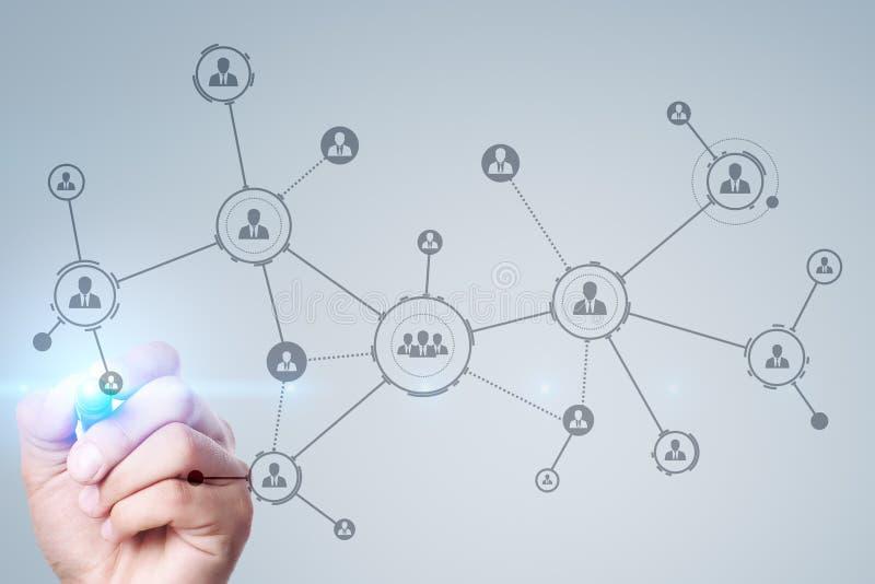 Organisatiestructuur Mensen` s sociaal netwerk Bedrijfs en technologieconcept royalty-vrije stock foto's