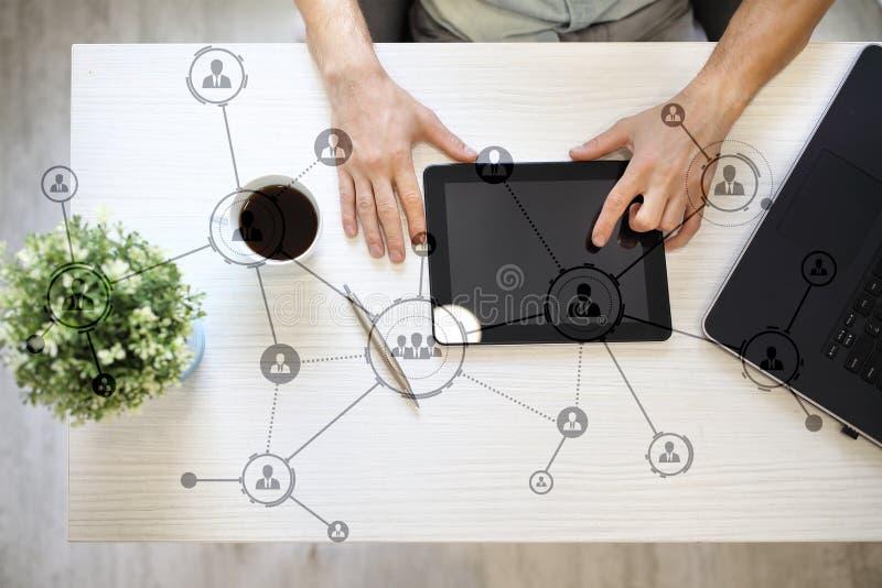 Organisatiestructuur Mensen` s sociaal netwerk Bedrijfs en technologieconcept royalty-vrije stock foto