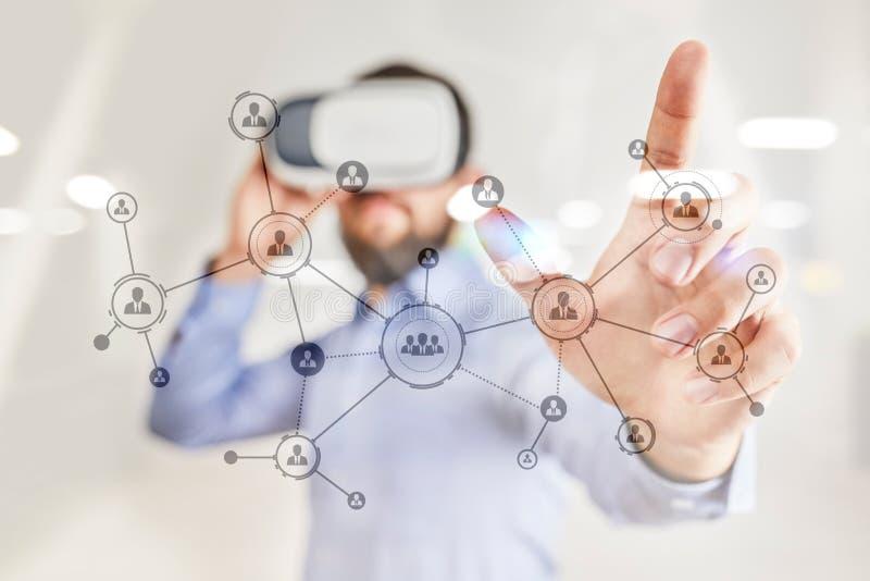 Organisatiestructuur Mensen` s sociaal netwerk Bedrijfs en technologieconcept royalty-vrije stock afbeelding