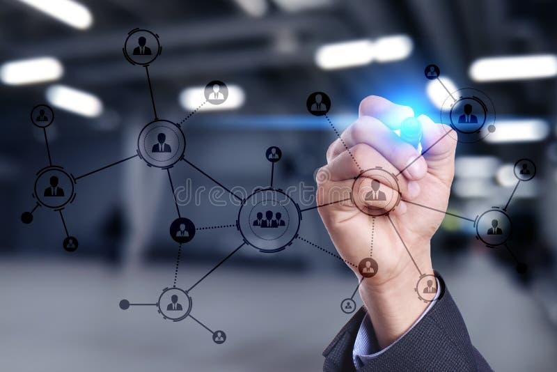 Organisatiestructuur Mensen` s sociaal netwerk Bedrijfs en technologieconcept stock afbeelding