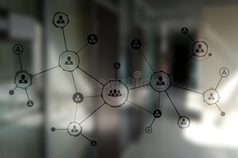 Organisatiestructuur Mensen` s sociaal netwerk Bedrijfs en technologieconcept royalty-vrije stock fotografie