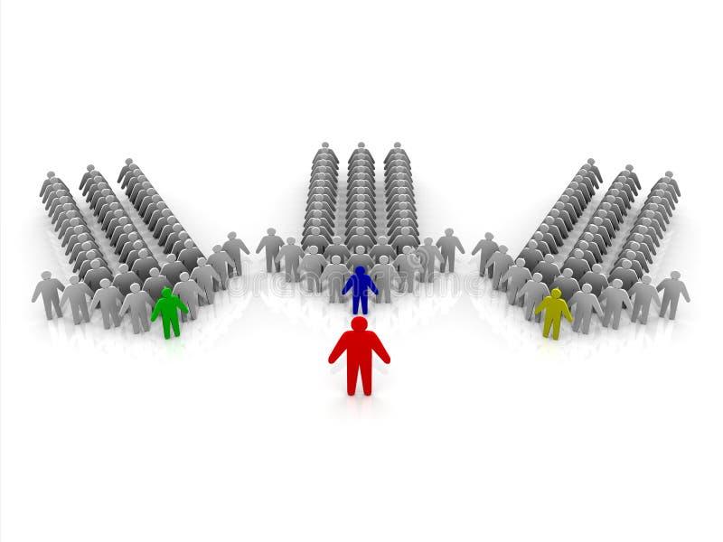 Organisation 3D mit Chef, Managern und Personal stock abbildung