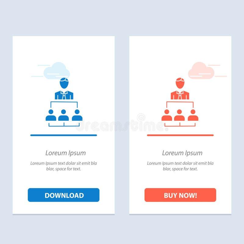 Organisation, affär, människa, ledarskap, ledningblått och röd nedladdning och att köpa nu mallen för rengöringsdukmanickkort vektor illustrationer