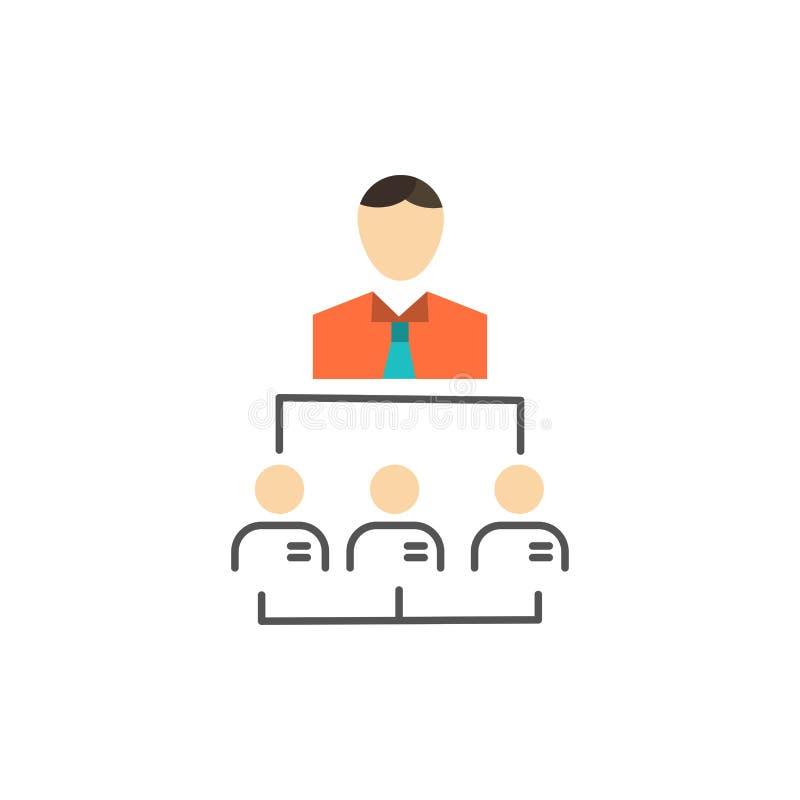 Organisation affär, människa, ledarskap, plan färgsymbol för ledning Mall för vektorsymbolsbaner royaltyfri illustrationer