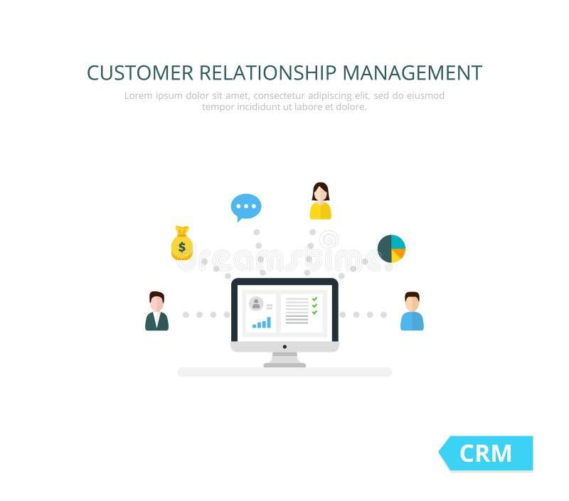 Organisation av data på arbete med klienter, CRM begrepp Illustration för kundförhållandeledning vektor illustrationer