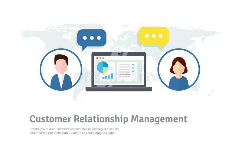 Organisation av data på arbete med klienter, CRM begrepp Illustration för kundförhållandeledning stock illustrationer