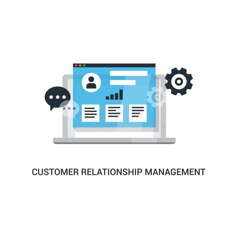 Organisation av data på arbete med klienter, CRM begrepp Illustration för kundförhållandeledning royaltyfri illustrationer