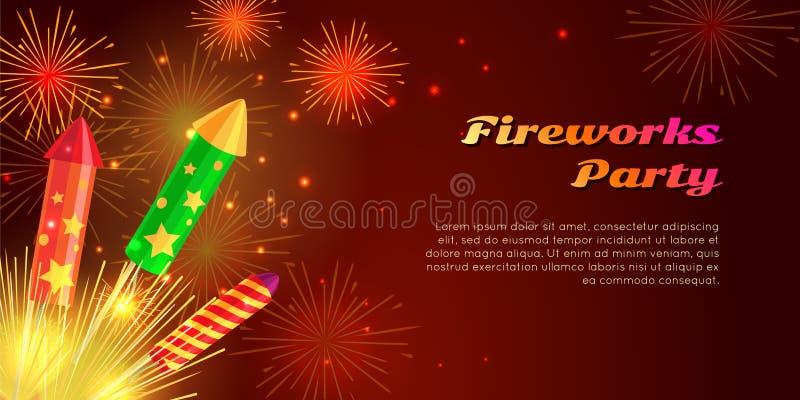 Organisation av fyrverkeripartiet pyrotechnic set vektor illustrationer