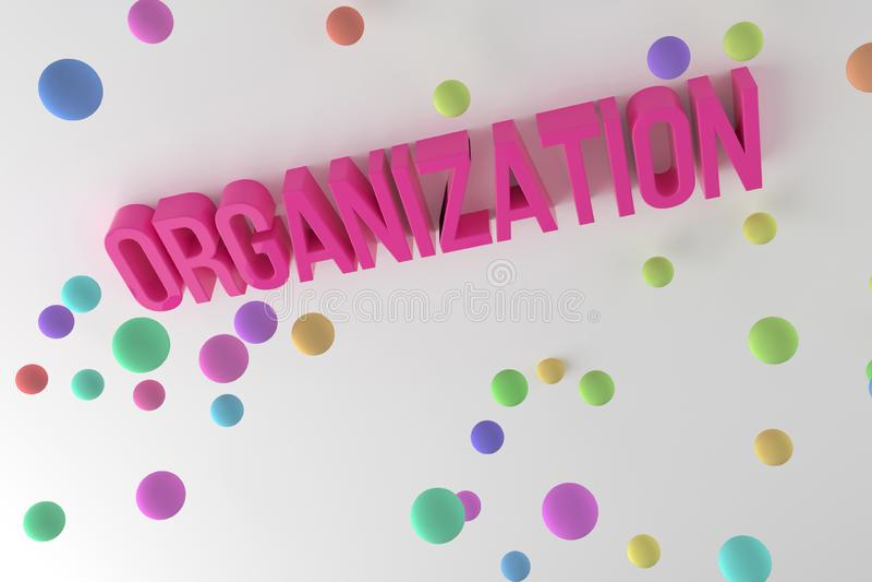 Organisation begreppsmässiga färgrika 3D framförda ord för affär Bakgrund, överskrift, kommunikation & stil royaltyfri illustrationer