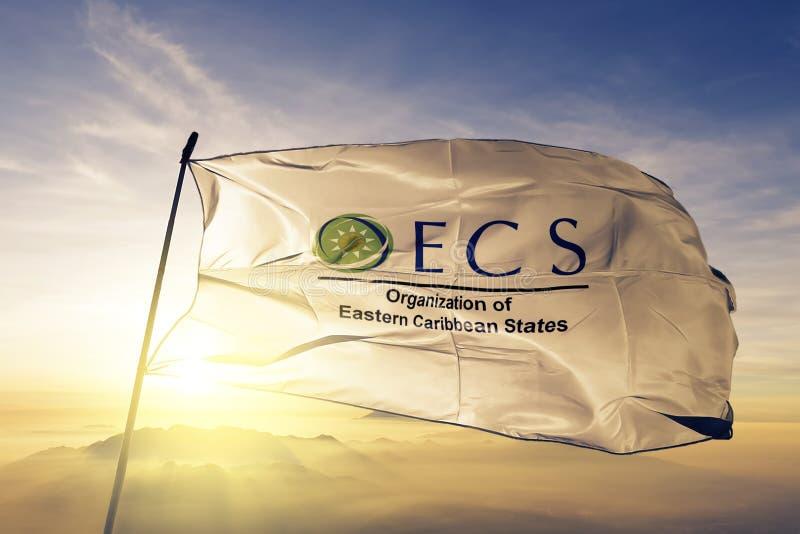 Organisation of Eastern Caribbean States OECS flag textile cloth fabric waving on the top sunrise mist fog. Beautiful royalty free illustration