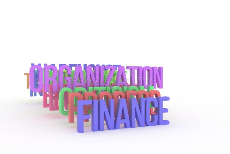 Organisation & finans, begreppsmässiga färgrika ord 3D för affär Kreativitet, tolkning, cgi & digitalt vektor illustrationer