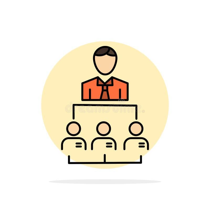 Organisation, Geschäft, Mensch, Führung, flache Ikone Farbe des Management-Zusammenfassungs-Kreis-Hintergrundes lizenzfreie abbildung