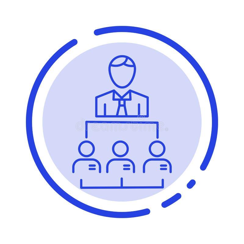 Organisation, Geschäft, Mensch, Führung, Linie Ikone der Management-blauen punktierten Linie lizenzfreie abbildung